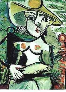 """200128: PICASSO """"HALF NUDE LADY WITH HAT SEATED IN RED"""