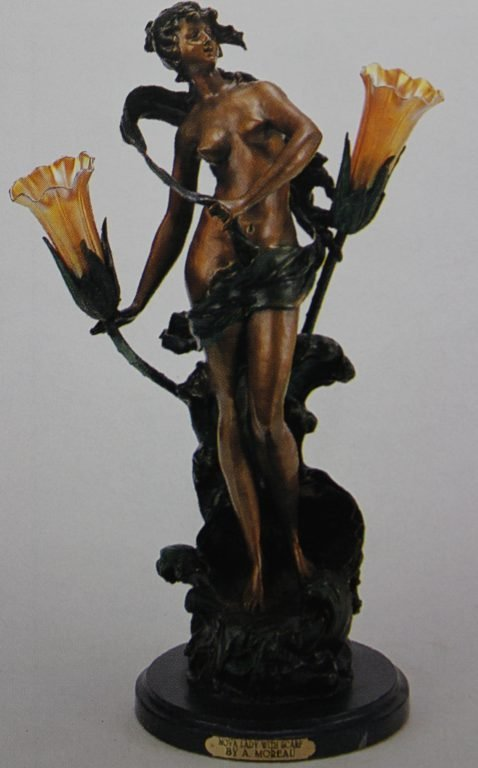 "300021: ""NOVA LADY WITH SCARF"" BRONZE SCULPTURE LAMP -"