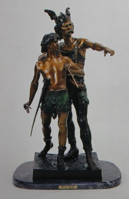 "300033: ""VIKING & SON"" BRONZE SCULPTURE - C.  LARORTE"