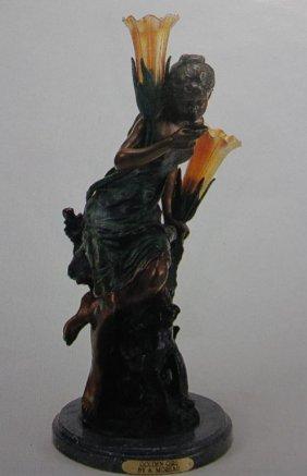"""""""GOLDEN GIRL"""" BRONZE SCULPTURE LAMP - A. MOREAU"""