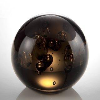 """300201: ART GLASS DARK GRAY BUBBLE SPHERE 3"""" DIA"""