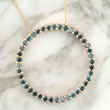 300223: 1.0 CTW. BLUE DIAMOND CIRCLE OF LOVE PENDANT -