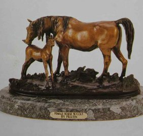 """FEMALE HORSE WITH COLT"" BRONZE SCULPTURE - FRA"