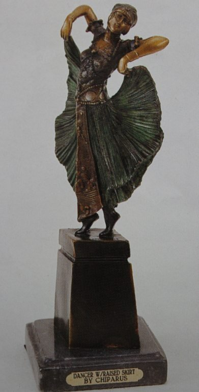 "300409: ""DANCER WITH RAISED SKIRT"" BRONZE SCULPTURE - C"