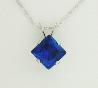 301007: CREATED SAPPHIRE 10KW GOLD NECKLACE