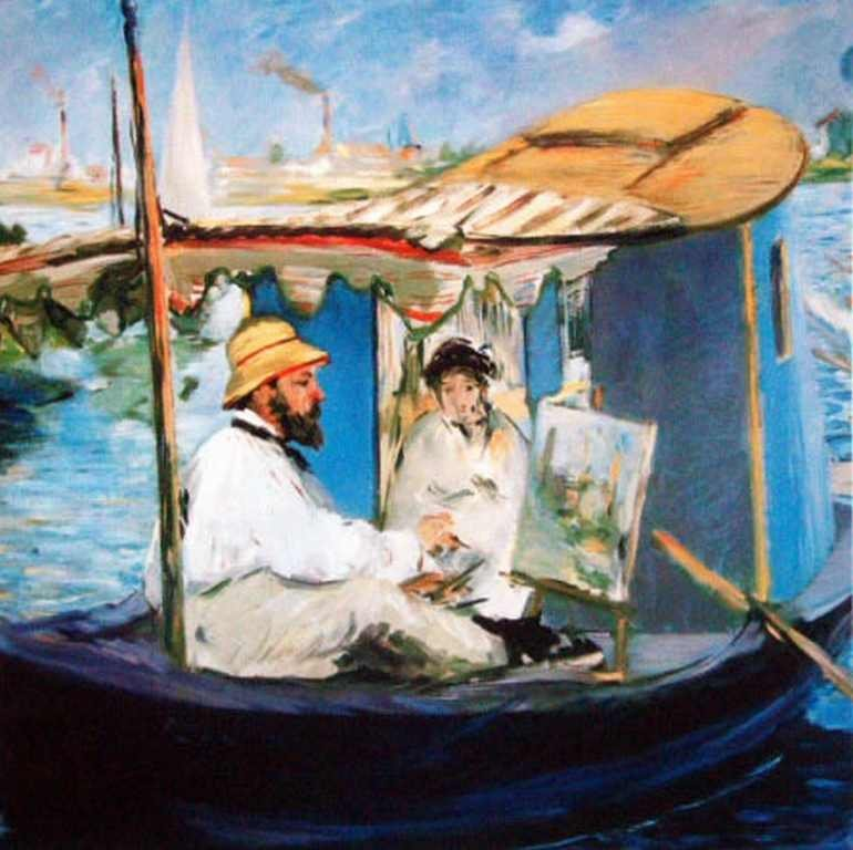 "400014: MANET ""MANET PAINTING IN HIS BOAT"""