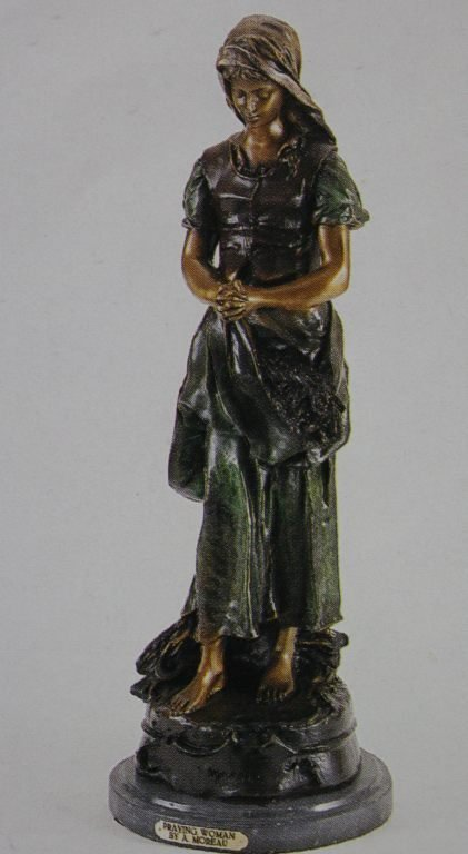 "400022: ""PRAYING WOMAN"" BRONZE SCULPTURE - A.  MOREAU"