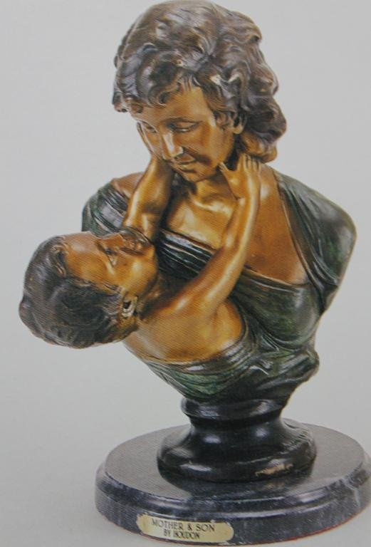 "400036: ""MOTHER &  SON"" BRONZE SCULPTURE - HOUDON"
