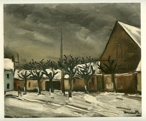 "400104: VLAMINCK LITHOGRAPH ""LIME TREES UNDER SNOW"""