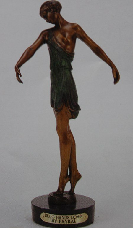 "400106: ""DECO HANDS DOWN"" BRONZE SCULPTURE - FAYRAL"