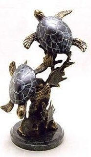 400114: SEA TURTLE PAIR BRONZE SCULPTURE