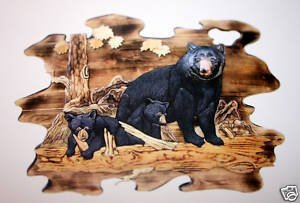 """400156: """"MOTHER BEAR AND CUBS""""  HAND CARVED WALL HANGIN"""