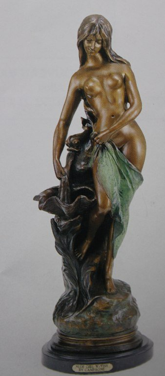 """400176: """"NUDE GIRL WITH FISH"""" BRONZE SCULPTURE - CAMPAG"""