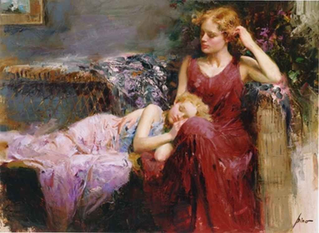 """100001: PINO HAND SIGNED GICLEE ON CANVAS """"A MOTHER'S L"""