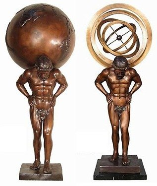 "200008: PAIR ""MAN"" BRONZE SCULPTURES"