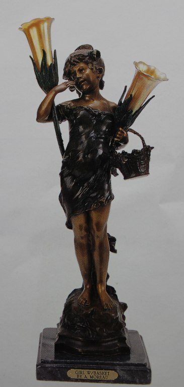 "200030: ""GIRL WITH BASKET""  BRONZE SCULPTURE LAMP - A."