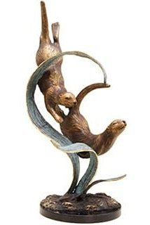 200036: DIVING OTTERS BRONZE SCULPTURE
