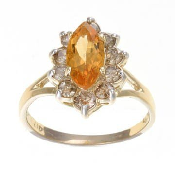200140: 2.0 CTW. CITRINE & DIAMOND RING IN 10KY GOLD