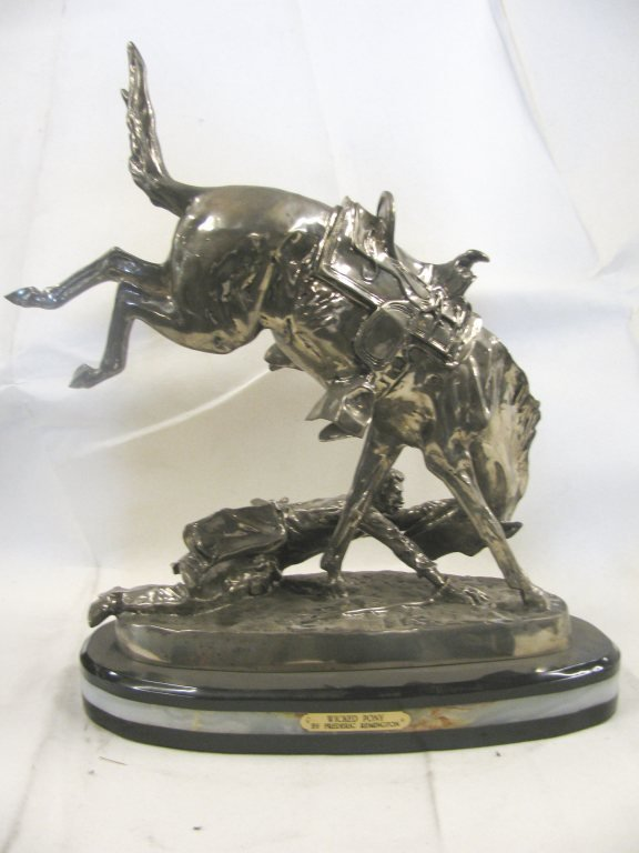 """200532: 22% REAL SILVER """"BRONCO TWISTER"""" SCULPTURE"""