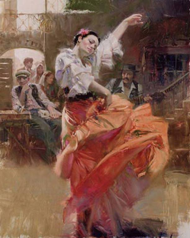 "300001: PINO HAND SIGNED GICLEE ON CANVAS ""FLAMENCO IN"