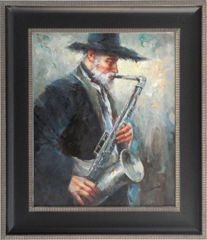 "400014: ""OLD MAN WITH SAXS"" - ORIGINAL OIL ON CANVAS"