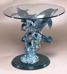 500547: DOLPHIN SEALIFE BRONZE SCULPTURE END TABLE