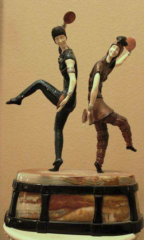 "500603: ""RUSSIAN DANCERS"" -BRONZE AND IVORY SCULPTURE"