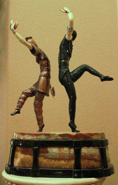 "500603: ""RUSSIAN DANCERS"" -BRONZE AND IVORY SCULPTURE - 3"