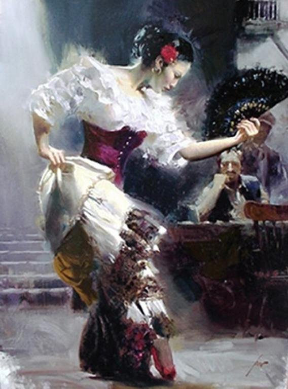 """600004: PINO HAND SIGNED GICLEE ON CANVAS """"THE DANCER"""""""