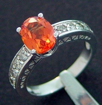 600012: 2.50 CTW DIAMOND & CREATED ORANGE SAPPHIRE RING