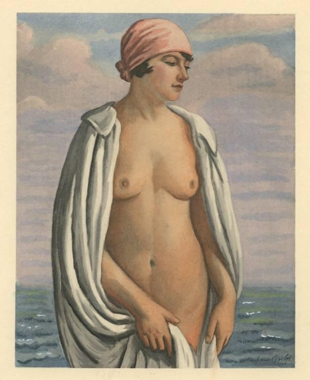 """600040: LOUIS CHARLOT POCHOIR """"BAIGNEUSE"""" 1929"""
