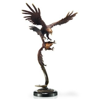 600050: FLYING EAGLE PAIR BRONZE SCULPTURE