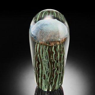 600618: ART GLASS BLUE JELLYFISH GLOW IN THE DARK