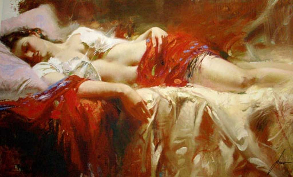"""800002: PINO HAND SIGNED GICLEE ON CANVAS """"RESTFUL"""""""