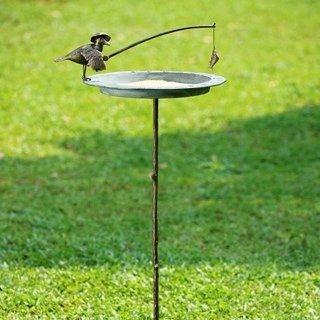 800016: FISHERMAN BIRD & CATCH SUNDIAL / BIRDBATH