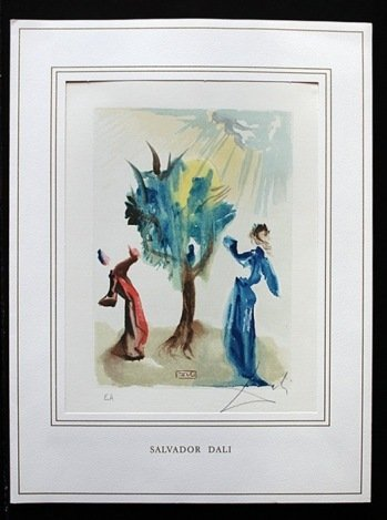 100114: DALI HAND SIGNED ORIG. COLORED WOOD ENGRAVING -