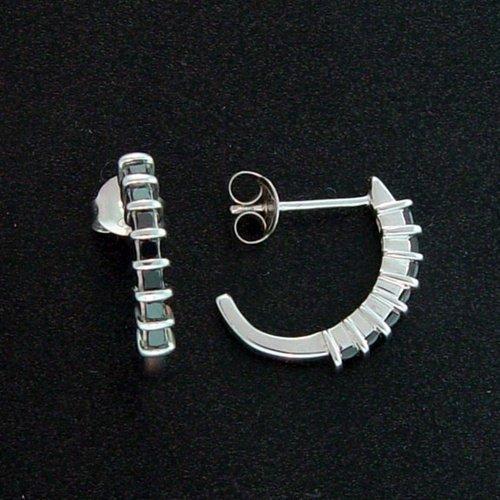 200002: .60 CTW. BLACK DIAMOND J-HOOP EARRINGS - STERLI
