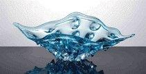 200022: HAND BLOWN ART GLASS CURVED PLATE