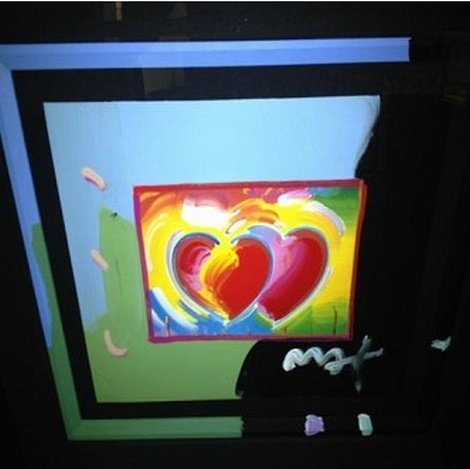 """200009: """"HEARTS"""" PETER MAX ORIGINAL MIXED MEDIA"""