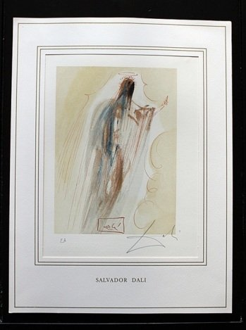 200017: DALI HAND SIGNED ORIG. COLORED WOOD ENGRAVING -