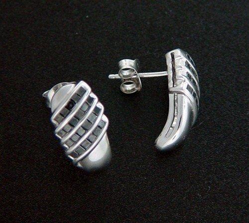 300013: 1.0 CTW. BLACK DIAMOND J-HOOP EARRINGS - STERLI