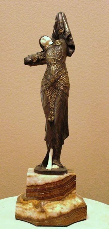 "400004: CHIPARUS - ""ODALISQUE"" - BRONZE AND IVORY SCULP"