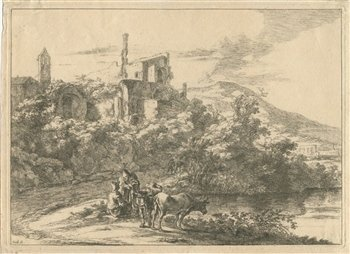 "400024: JAN DIRKSZ BOTH ""LANDSCAPE WITH RUINS AND TWO C"