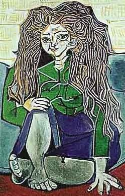 "500009: PICASSO ""WOMAN SITTING CROSS LEGGED ON PILLOWS"""