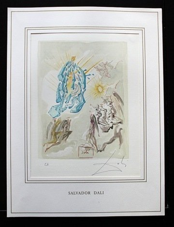 600018: DALI HAND SIGNED ORIG. COLORED WOOD ENGRAVING -
