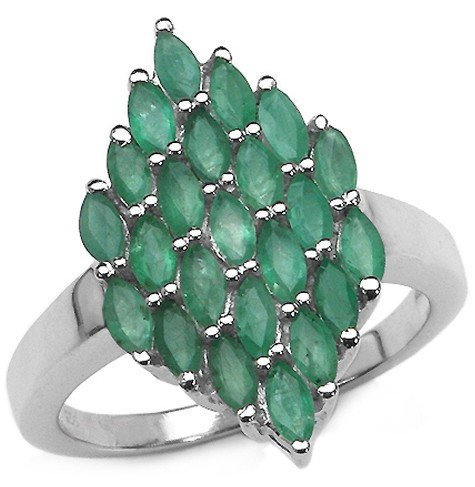 600023A: 2.30 Carat Genuine Emerald .925 Sterling Silve