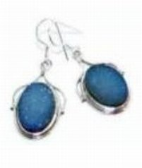 100022: Agate Drusy Sterling Earrings