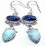 100122: Larimar & Kyanite Sterling Earrings
