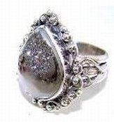 100182: Sterling and Coated Drusy Ring