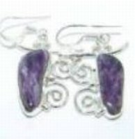 100222: Charoite Sterling Earrings